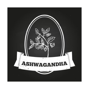 Health and Nature Collection. Badge template with a herb on chalkboard background. Ashwagandha