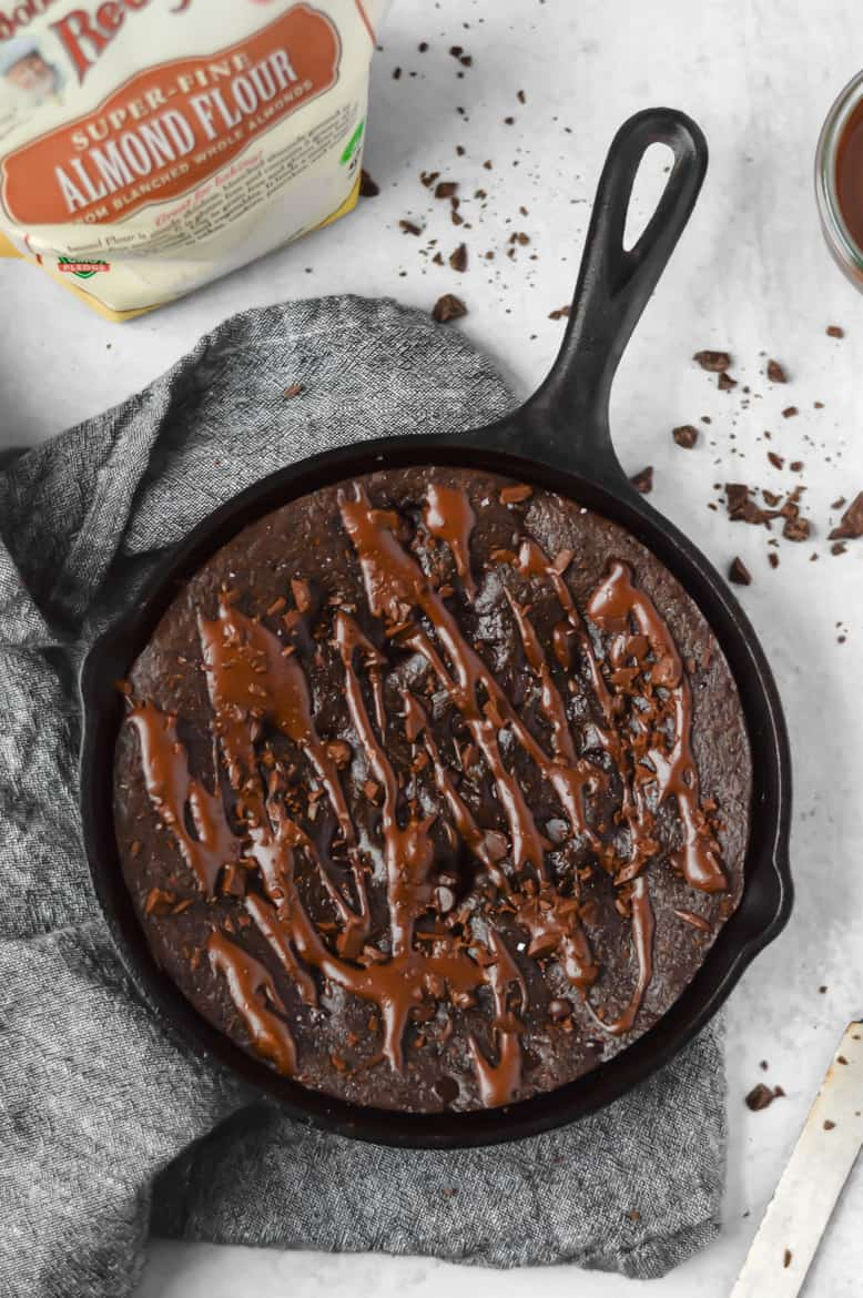 Deep Dish Paleo Fudge Brownie Cake with Dairy Free Tahini Frosting!