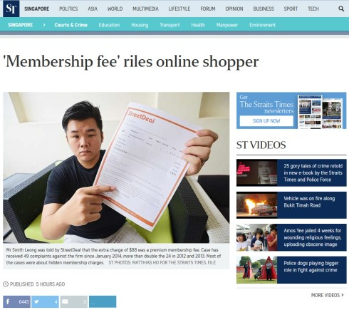 Smith Streetdeal Straits Times article