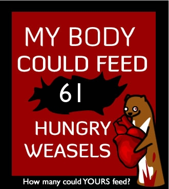 How many hungry weasels could your body feed?