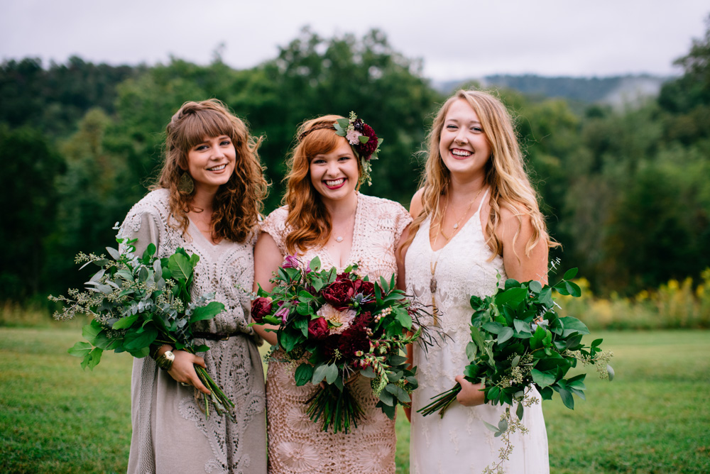 happy smiling bride with bridesmaids benedict haid wv