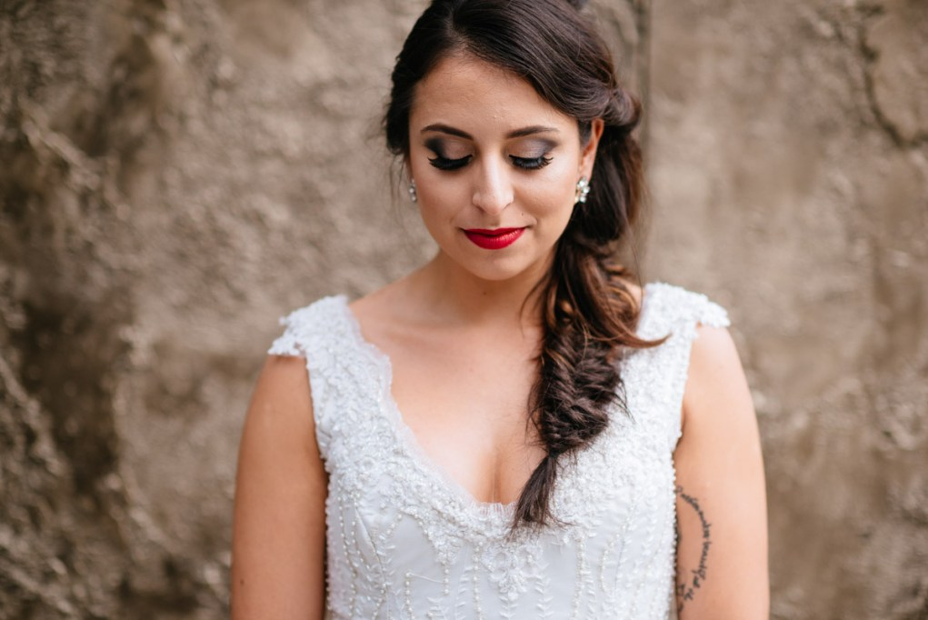 bridal portrait fishtail braid
