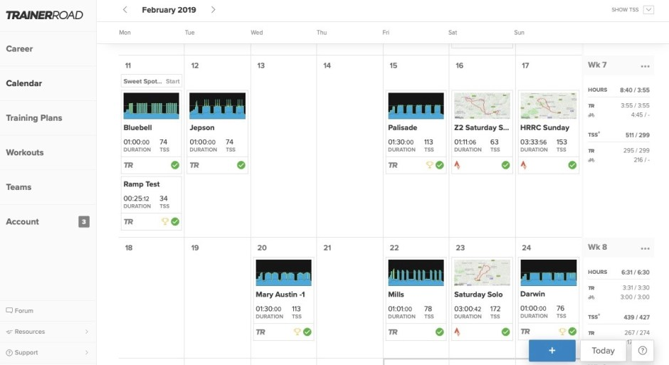 Trainerroad app includes a useful calendar feature