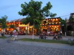 Row of restaurant filled with lanterns on An Hoi Island