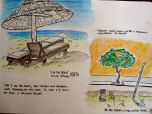 Eric's watercolor of the beach and a scene in town