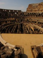 Inside the Coliseum, behind the reproduction stage. This is where the Emperor sat!