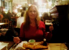 Mom enjoys her first British meal at The Assembly House near Kentish Town.