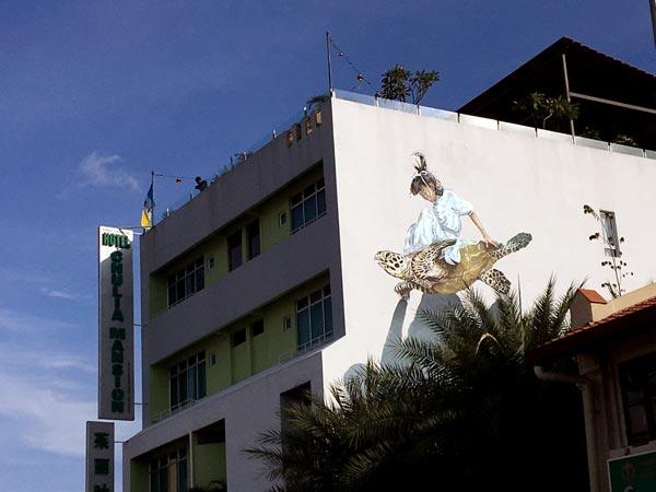 Penang Street Art - Lebuh Chulia Girl Turtle Collab