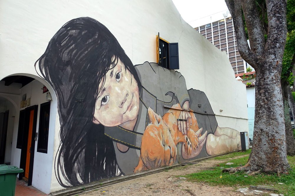 Singapore Street Art ErnestZ Girl With Lion Cub