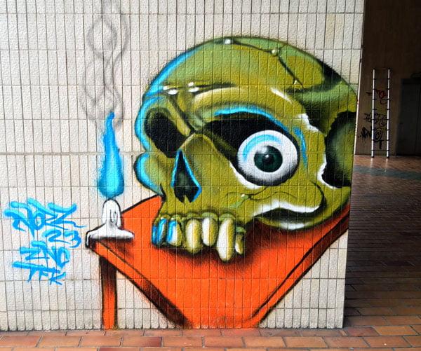 Eminent Takeover - Street Art Skull