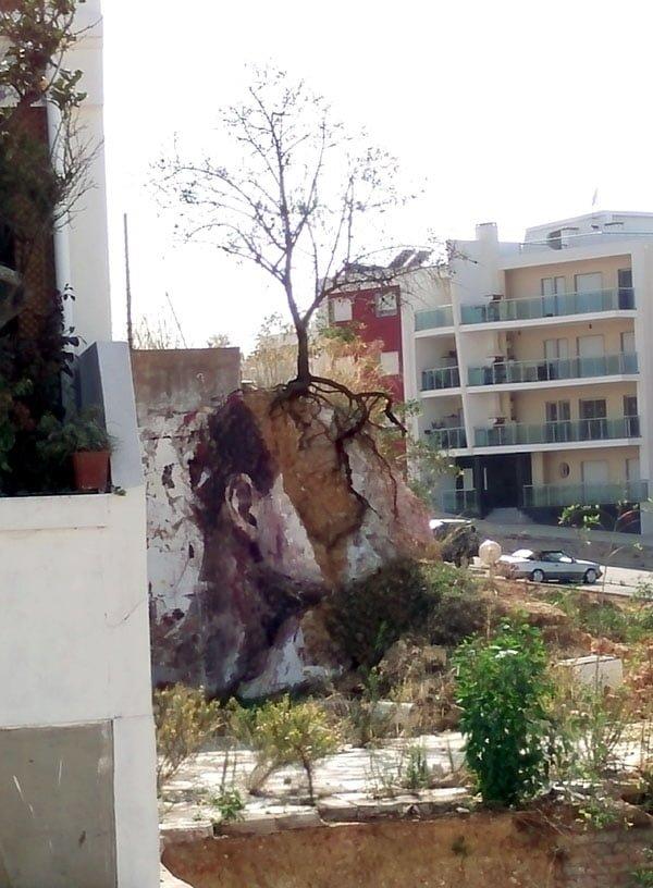 Portugal - Lagos Street Art Borondo face tree