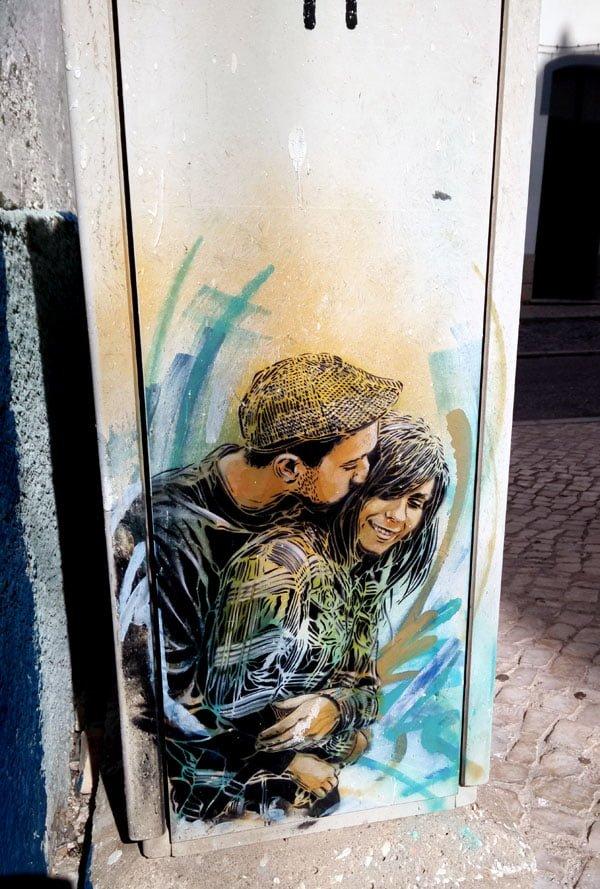 Portugal - Lagos Street Art C215 blue couple