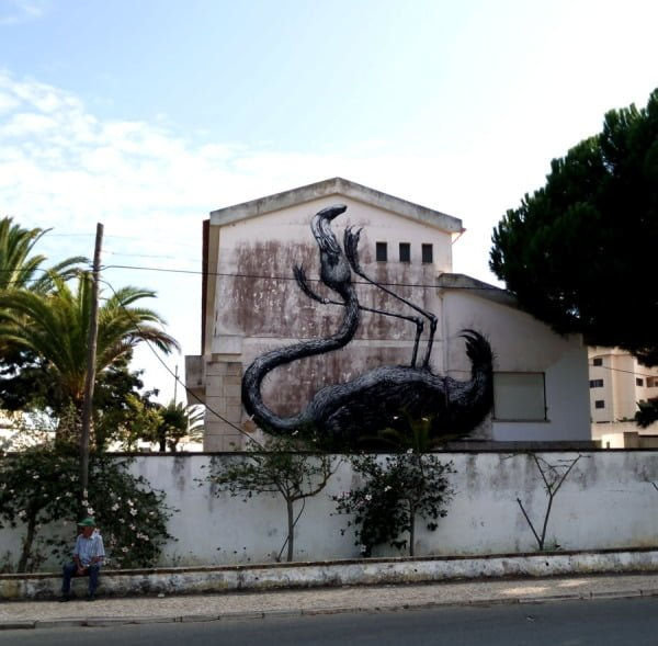 Portugal - Lagos Street Art Roa Flamingo