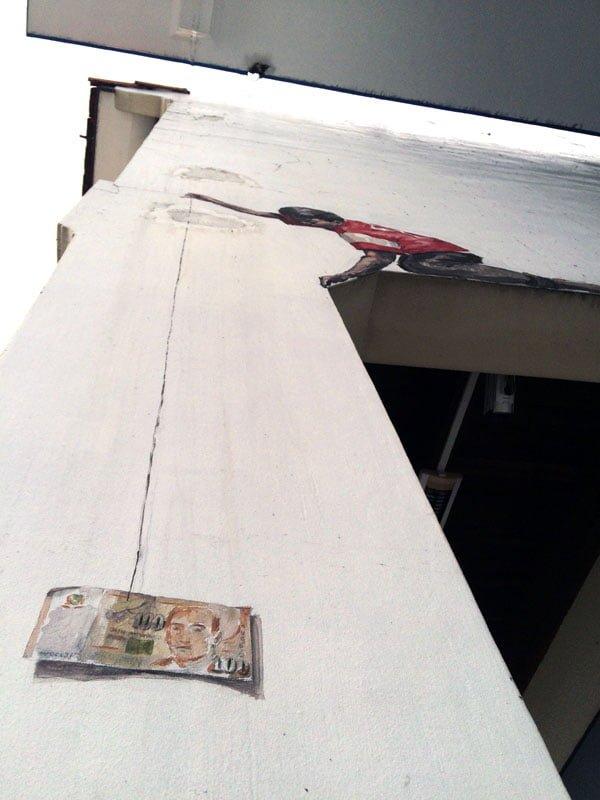 Singapore Street Art - Perak Hotel Money Boy Close up