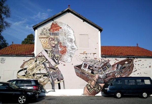 Portugal - Lisbon Street Art Vhils-Pixelpancho Man-Boat