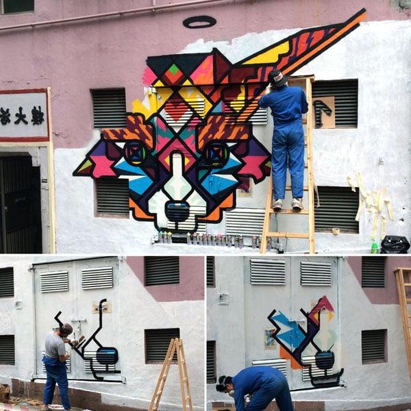 Hong Kong Street Art - Rukkit Progress