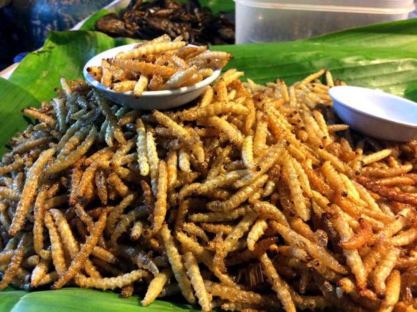 Phuket Wat Suwankiriket Market Insects Bamboo Worm Pile