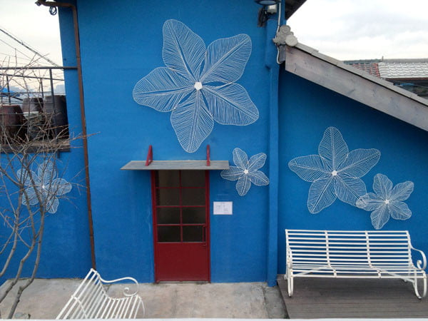 Seoul Ihwa Mural Village Blue Flowers