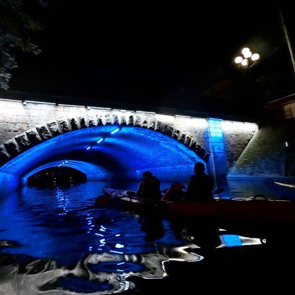 Riga Night Kayaking Bridge