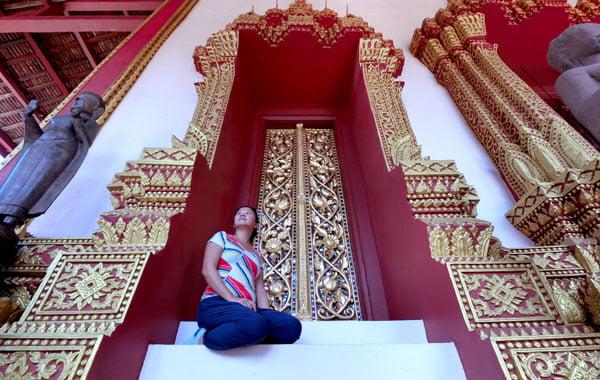 Laos Vientiane Ho Phra Keo Doorway Selfie