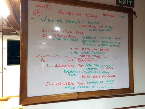 Galapagos Cruise Schedule