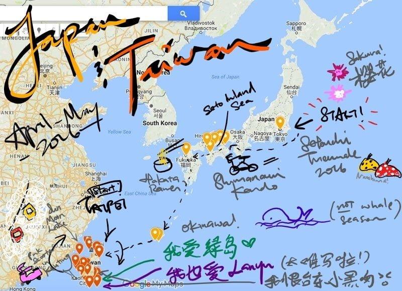 Career Break Map Asia Leg scribble