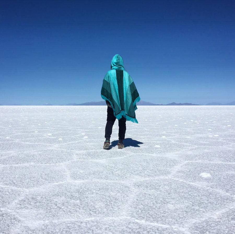 Bolivia Uyuni Salt Flats Back Poncho
