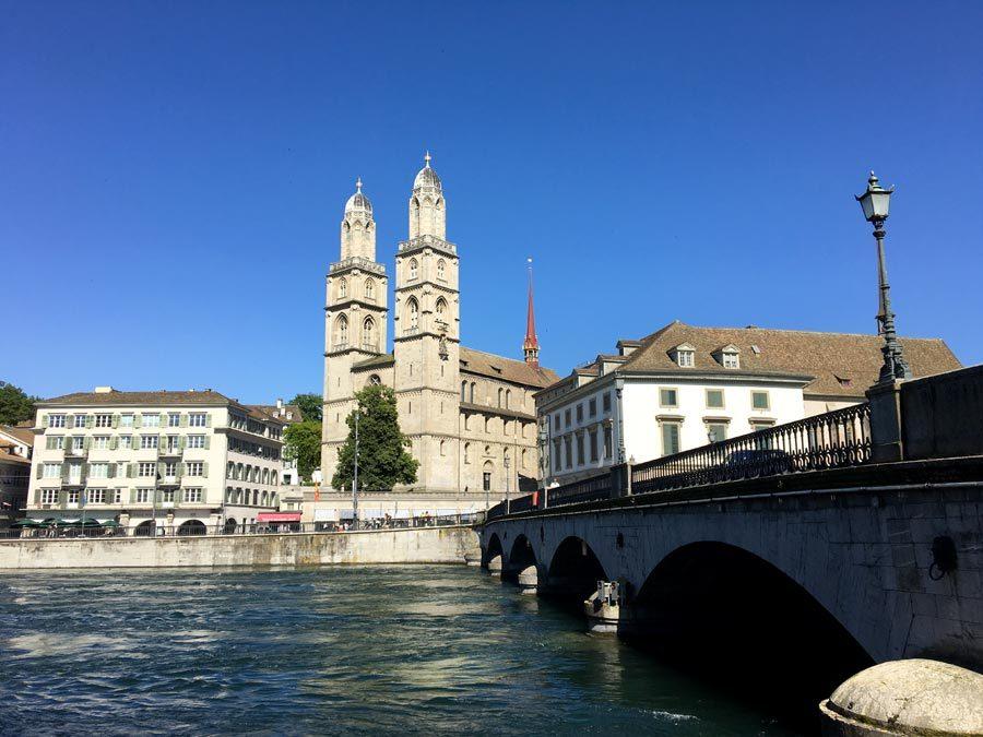 Zurich Grossmunster from Limmat Bridge