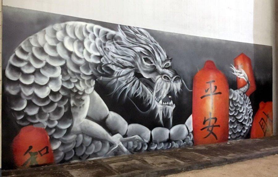Singapore Street Art Chinatown Amoy Food Centre Dragon