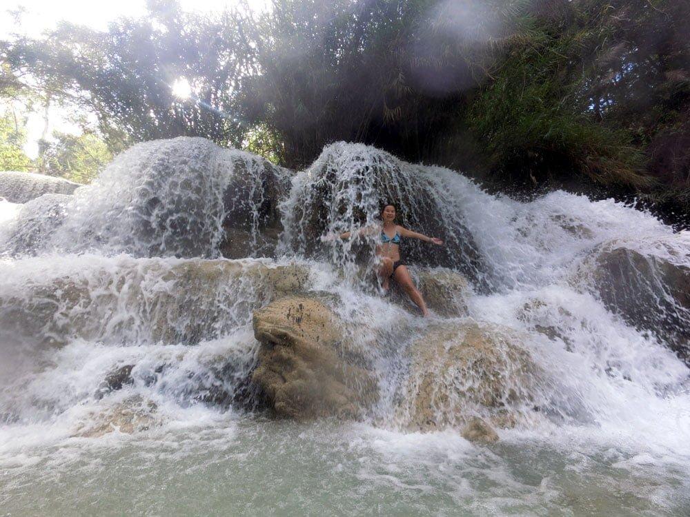 Laos Luang Prabang Kuang Si Waterfall Lower Me