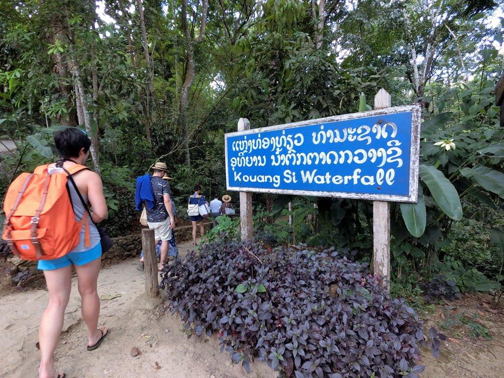 Laos Luang Prabang Kuang Si Waterfall Sign
