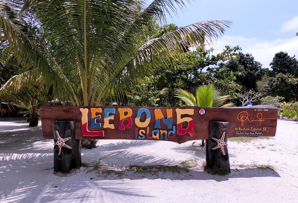 Belitung Leebong Island Sign