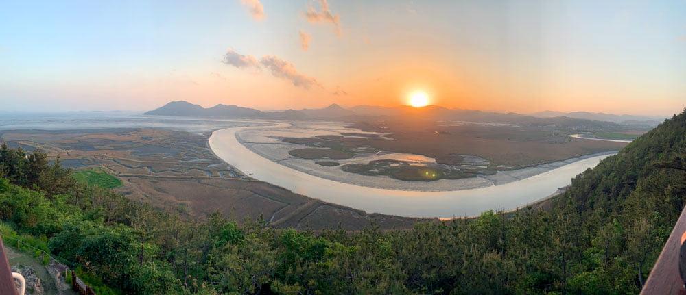 Suncheon Bay Wetland Viewpoint Sunset Pano