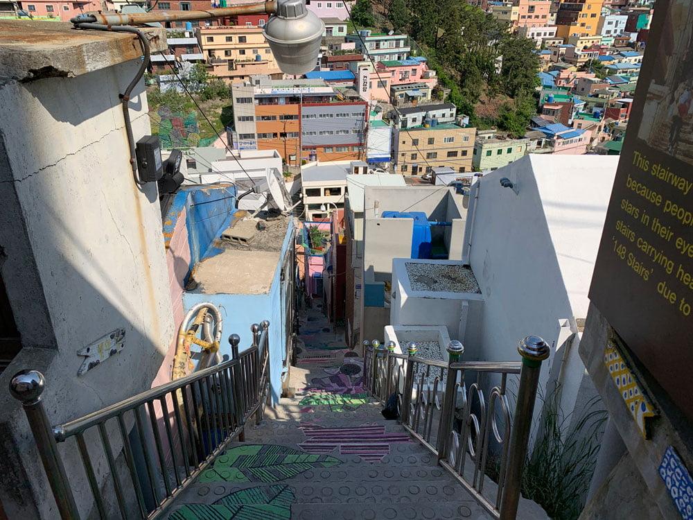 Busan Gamcheon Culture Village Stairs Down