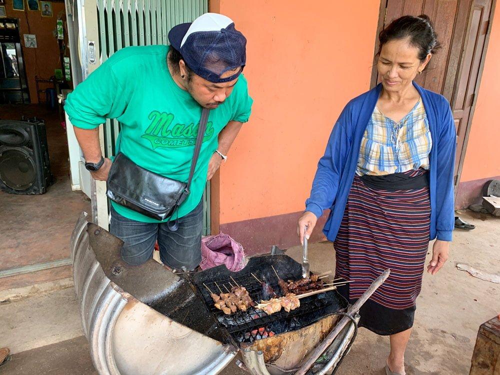 Laos Kong Lor Village Skewers