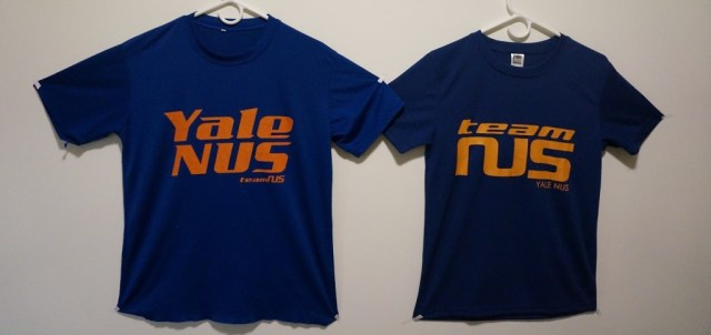 The change of T-shirt text emphasizing 'Yale-NUS' to 'Team NUS' this year raised issues of identity and recognition. (Xie Yihao)
