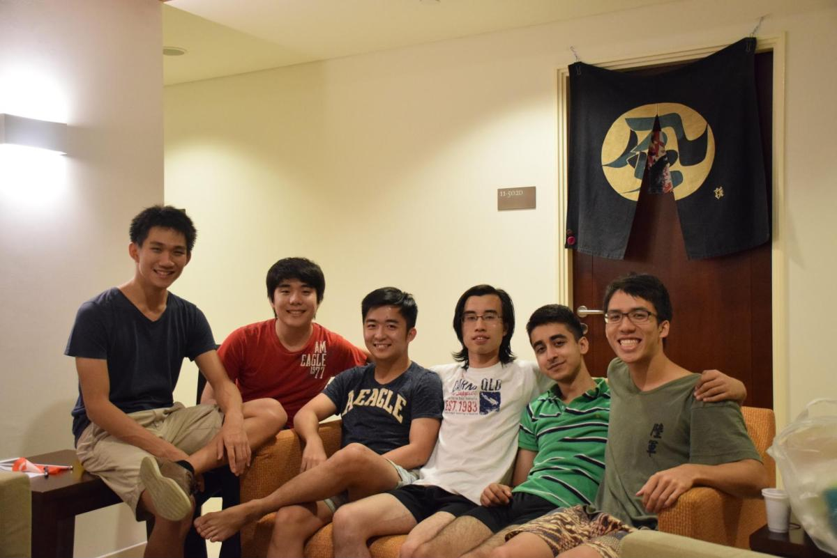 'It took us three weeks to get all six of us in the suite at the same time.' 'But it was beautiful.' (Herbin Koh '17 is third from left)