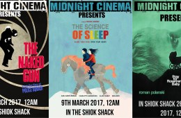 Posters for The Naked Gun, The Science of Sleep and Pray for Rosemary's Baby, as shown by Midnight Cinema.