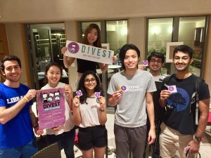 Yale-NUS students pose with divestment campaign materials. They are asking the college to divest its endowment from fossil fuels. Image: Yale-NUS Divest Campaign