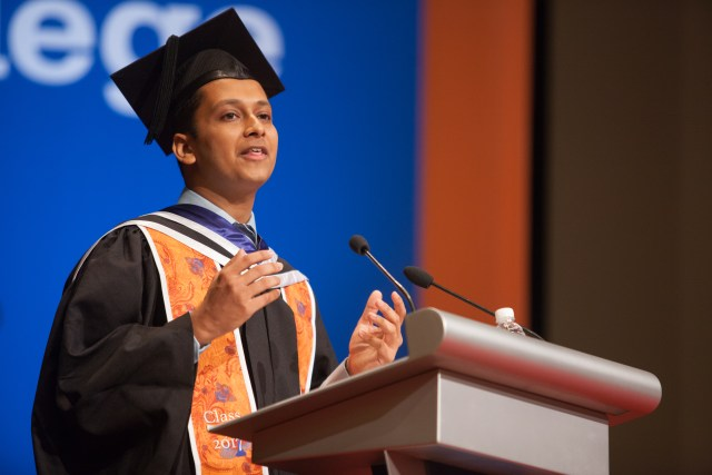 Student Speaker, Anshuman Mohan '17 speaks to the inaugural graduation ceremony.