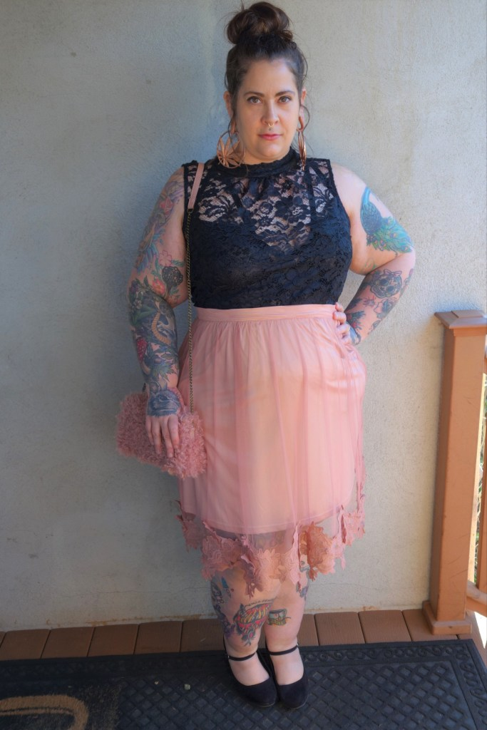 plus size pink skirt