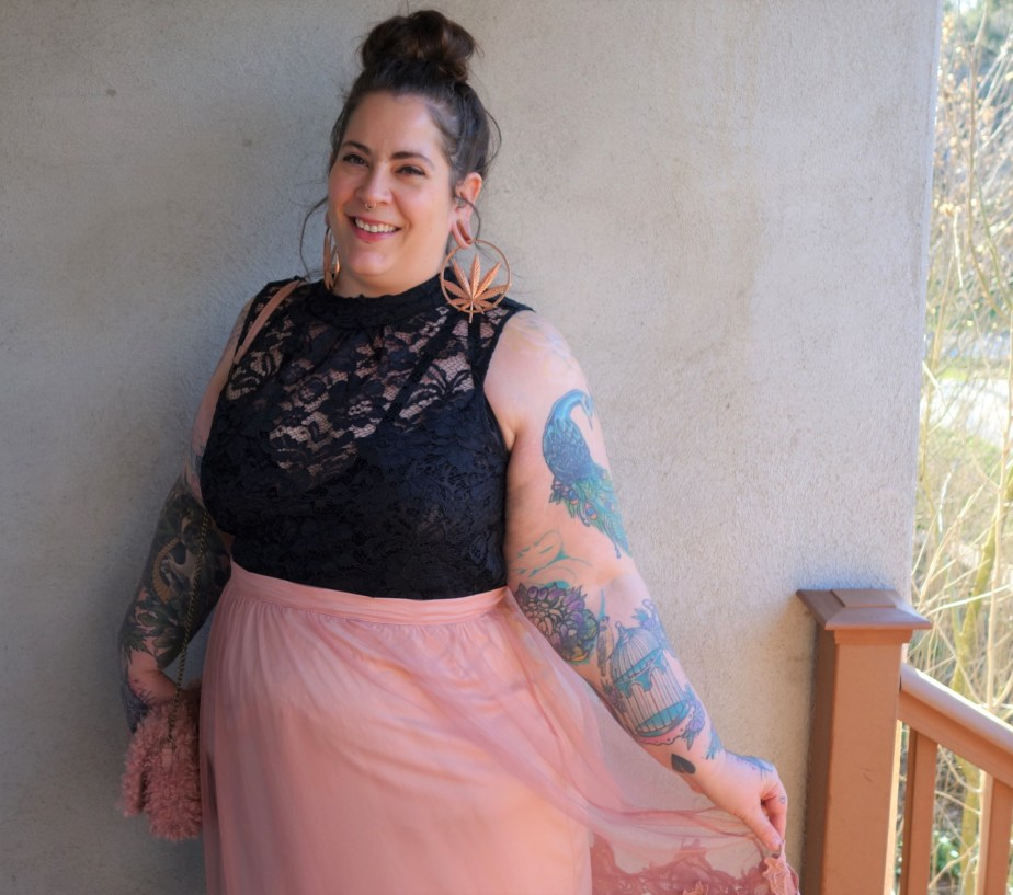 Plus size sheer pink skirt