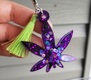 purple pot leaf keychain