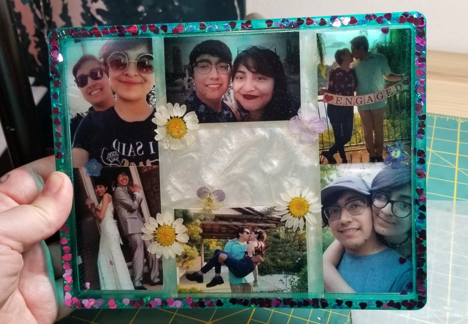 resin photo collage tray