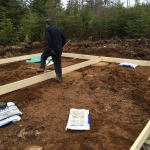 Leveling the blocks for the off grid cabin