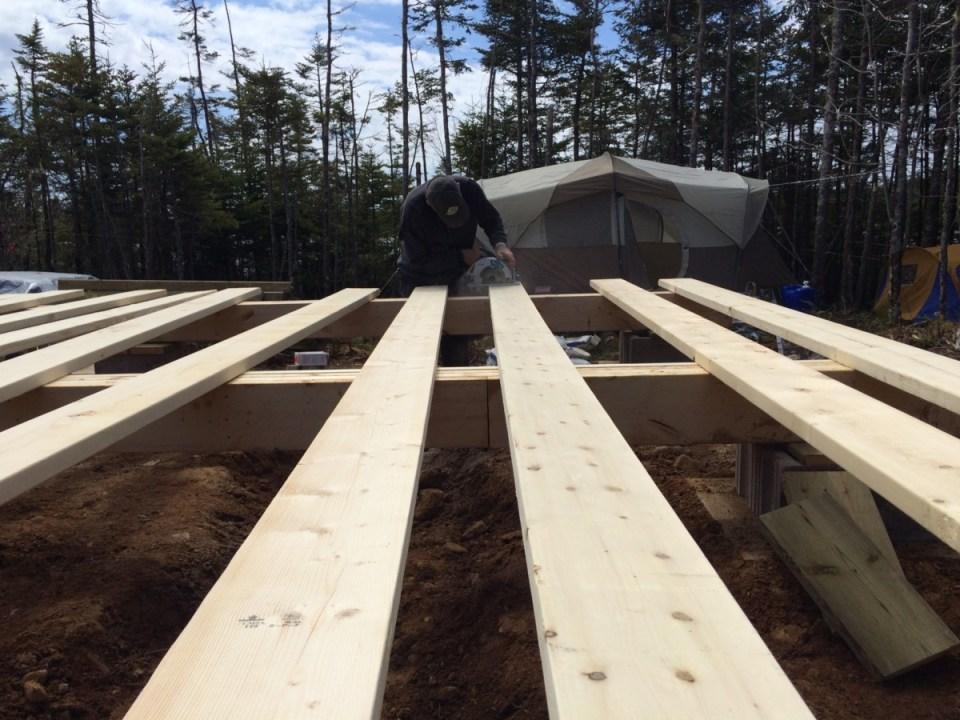off grid cabin floor joist boards