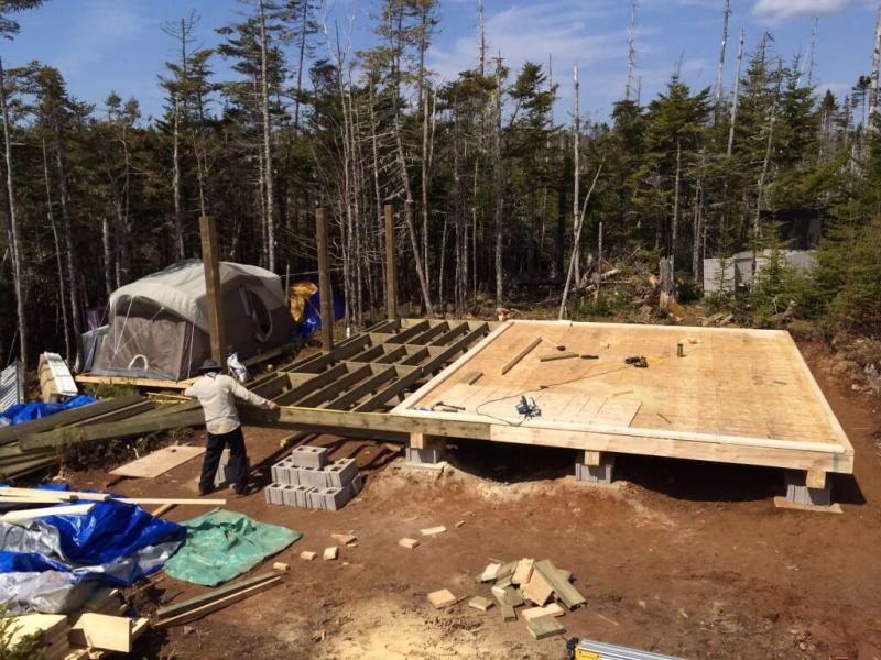 Cabin front deck measuring for decking
