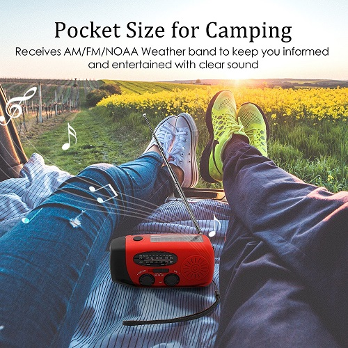 Emergency Hand Crank Self Powered AM FM NOAA Solar Weather Radio with LED Flashlight 1000mAh Power Bank for iPhone Smart Phone