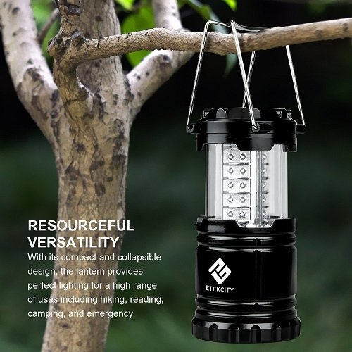 Etekcity 4 Pack Portable Outdoor LED Camping Lantern with 12 AA Batteries - Survival Kit for Emergency, Hurricane, Storm, Outage (Black, Collapsible)