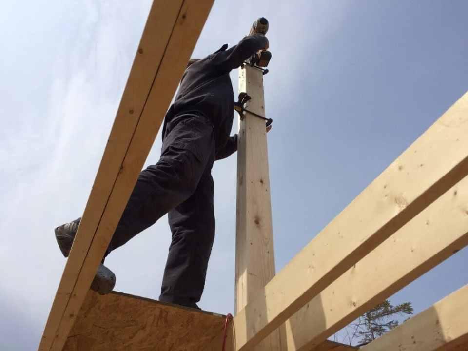 Framing the Main Center Support Beam Nail Gun